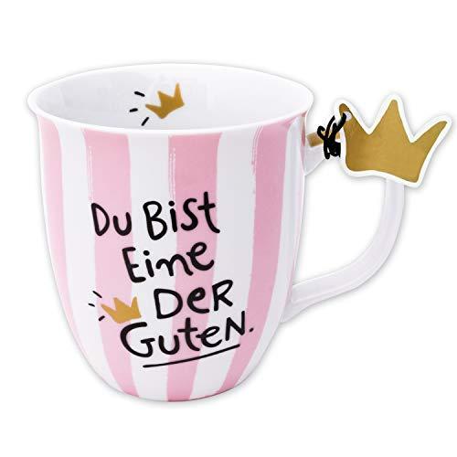 Happy Life 45979 Tasse mit Spruch Du bist eine der Guten, Porzellan, 40 cl , Rosa -
