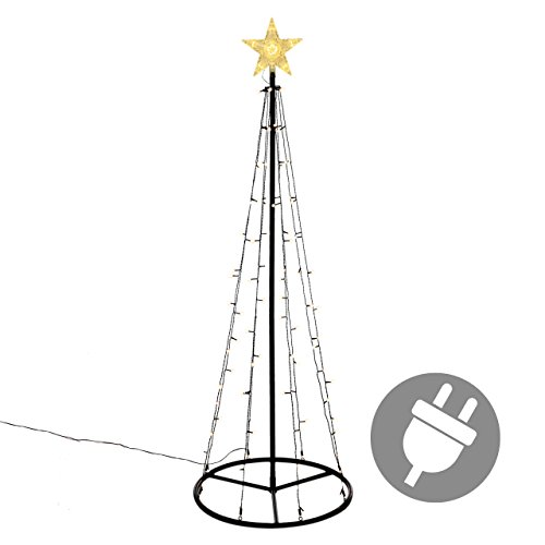 106 LED Lichtpyramide mit Leucht-Stern Lichterbaum warm weiße Dioden 180 cm Baum mit Stern Trafo Weihnachtsbaum Weihnachtsdeko Außen Leuchtbaum