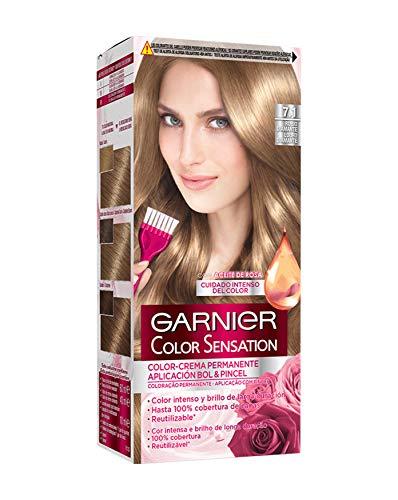 Garnier Color Sensation coloración permanente e intensa reutilizable con bol y pincel - 7.1 Rubio Diamante...