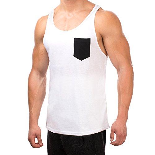 SMILODOX Tank Top Herren mit Brustasche   Muskelshirt ideal für Sport Gym Fitness & Bodybuilding   Muscle Shirt - Stringer - Tanktop - Unterhemd - Achselshirt Weiss / Schwarz