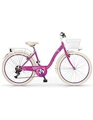 "Bicicleta MBM FLEUR 24 ""1S marco de acero - cesta de la bicicleta incluido (Magenta)"