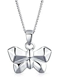 Bling Jewelry .925 Silver Origami Butterfly Animal Pendant Necklace 16 In