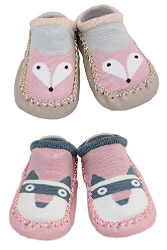 LCX 2 Paar Baby Jungen Mädchen Hausschuhe Anti-Rutsch-Schuhe Socken 9-18 Monate (Fox und Waschbär) (Hausschuhe-socken Für Baby Mädchen)