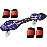 Jonex Waveboard/snakeboard Wheel With LED Flash Colourful Lights On Wheels And Protective Set Of 2 (knee And Elbow Guards) With Free Waveboard Bag