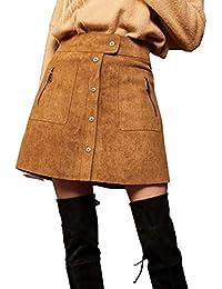 Elf Saco Mujer Mini Rock en imitación Ante Stretch Impresión botón Bolsillos a de línea Ante