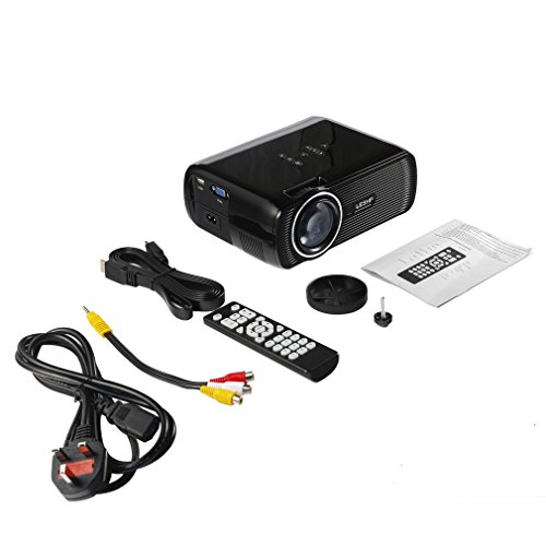 Tragbare Multimedia-LED Videoprojektor 1080P HD 1200 LM mit Keystone für Office Home Cinema Theater TV Game 1000: 1 Gang-home-theater -
