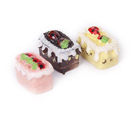Sharplace 2 x 8pcs Juegos para Casa de Muñecas Pastel Tarta Surtidos Sabor Fresa Chocolate Cereza en Miniatura