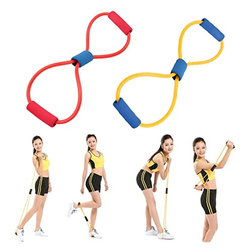 Cartshopper Resistance 8 Type Muscle Chest Expander Rope Workout Pulling Exerciser Fitness Exercise Tube Sports Yoga for Men and Women - Multi Color