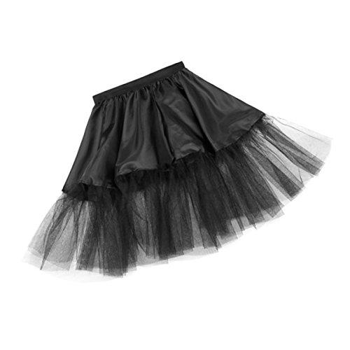 Und And 60's Kostüme Roll 50's Rock (Kostümplanet® Petticoat schwarz mit Gummiband und Tüll Tutu Petti Coat Unterrock schwarzer)