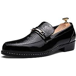 Apragaz Hombres Mocasín de Cuero Zapatos de Boda Sin Cordones Decoración de Hebilla de Metal Retro de Vamp Pulida Zapatos de Vestido de Banquete (Color : Negro, tamaño : 42 EU)
