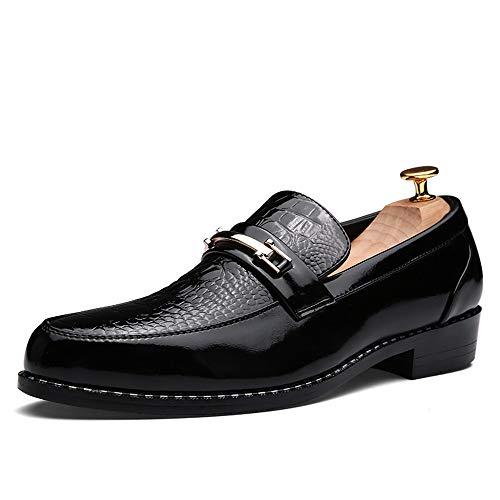Jingkeke Herren Slip-on Formale Business Oxfords Casual Retro Persönlichkeit Anzug Lackleder Wasserdichte Hochzeit Kleid Schuhe auffällig (Color : Schwarz, Größe : 41 EU)