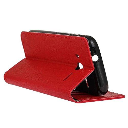 JIALUN-Telefon Fall Feste Farbe Kasi Beschaffenheit PU-lederner Fall-Abdeckungs-Schlag-Standplatz-Fall-Mappen-Kasten mit Karten-Geld-Schlitze für Alcatel PIXI 4 4.0 ( Color : Pink , Size : Alcatel PIX Red