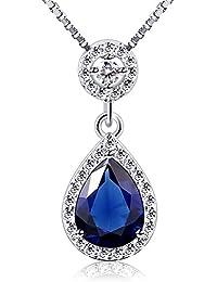 B.Catcher Collar Mujer Plata de Ley 925 con azul Forma de lágrima ''Las lágrimas del ángel'' con Para Caja de Regalo Originales 45cm