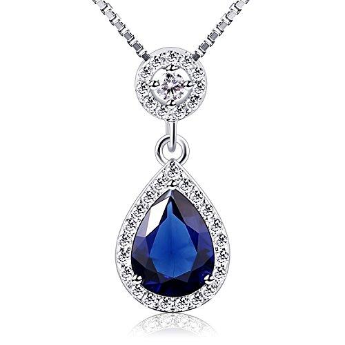 B.Catcher Damen Kette Blau Halskette 925 Sterling Silber 5A Zirkonia Anhänger ,, Engel Trän''Schmuck 45CM Kettenlänge Geschenk