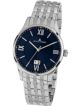 Jacques Lemans Herren-Armbanduhr London Analog Quarz Edelstahl 1-1845J