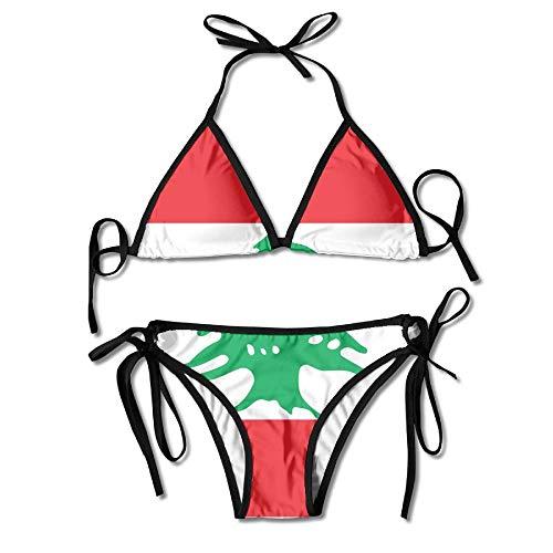 Lebanese Flag Women's Tie Side Bottom Bikini Suits Two Pieces Swimwear