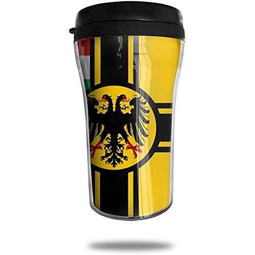 Preußen Flagge Österreich Ungarn Reise Kaffeetasse 3D Gedruckt Tragbare Saugnapf, Isolierte Teetasse Wasserflasche Becher zum Trinken Mit Deckel 8,54 Unzen (250 ml)