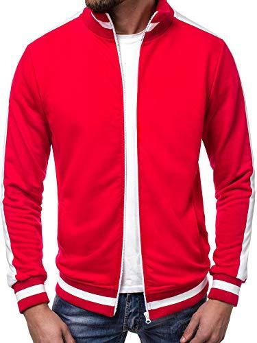 OZONEE Herren Sweatshirt Sweatjacke Sportjacke Pullover Pulli Basic Klassiker Longsleeve 777/720B ROT M Rote Baumwolle Pullover