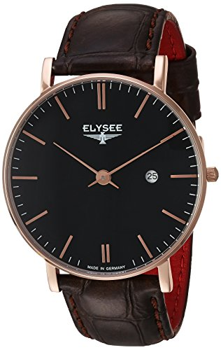 Elysee Zelos Mens Watch Rose Gold Leather Bracelet Black