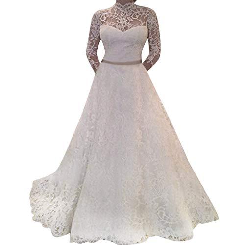 Luckycat Frauen mit Langarmn Ärmeln Spitze Brautkleid Elegante Party Abend  schlank Maxi Kleider Schwingenkleid Cocktailkleid Blusenkleid 47f251e981
