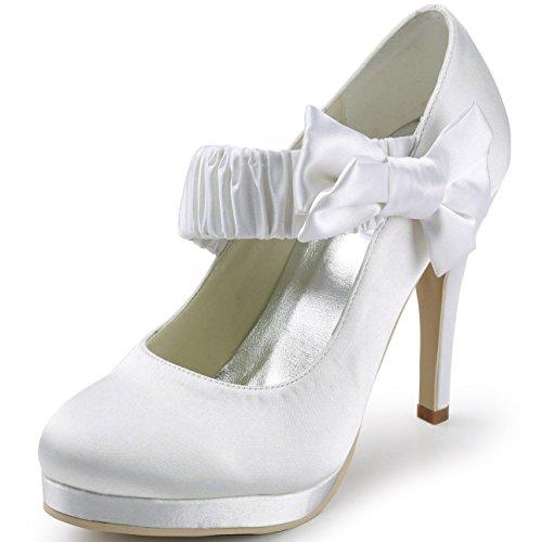 Elegantpark EP11119-PF Raso Punta Rotonda Piattaforma scarpe a Tacco da sposa Ballo Partito da Sera Bianco