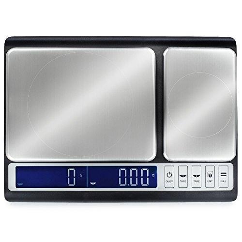 Báscula de cocina Smart Weigh con doble plataforma con pesa de calibración de 200 gr.