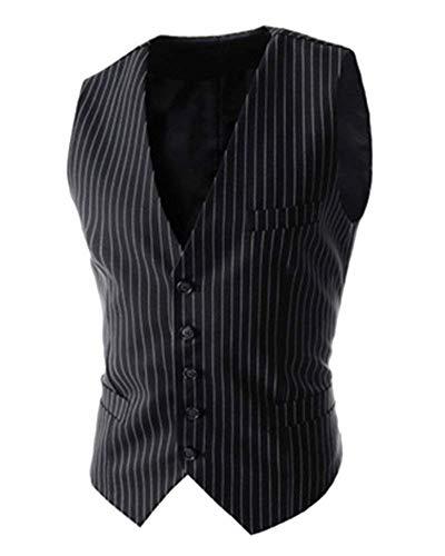 Vestido Ajustado A Rayas De Los Hombres del Chaleco Básico Chaleco De Vintage Los Hombres del Chaleco con Cuello En V Slim Fit (Color : Schwarz, Size : S)