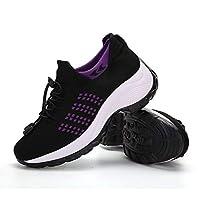 أحذية ZYEN النسائية للمشي للتنفس مريحة سهلة الارتداء أحذية رياضية ذات كعب شبكي, (1901 Black Purple), 41 EU