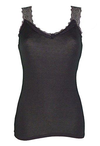 Miss Rouge - Top, camiseta de tirantes de encaje Negro negro