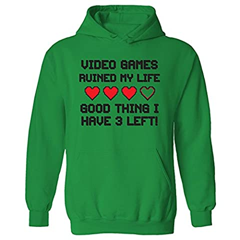 Mens Video Games Ruined My Life Funny Gamer Pullover Hoodie Green (XXL)