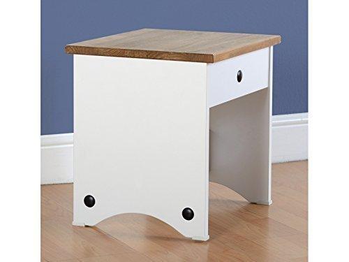 Seconique u toletta con sgabello in bianco legno di pino