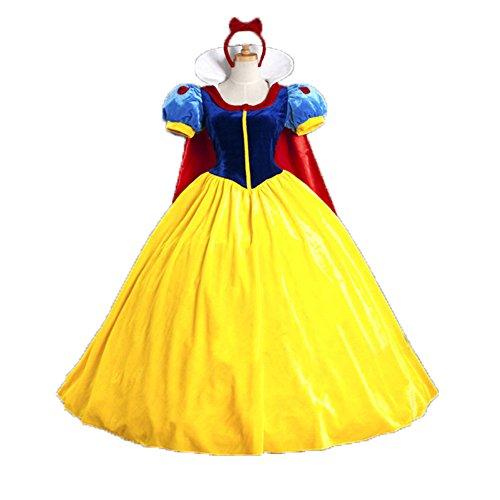 Cosfun Halloween Cartoon Kostüm Schneewittchen Kostümkleid mit Cape Kopfschmuck inspiriert von Disney für Karneval, Fasching