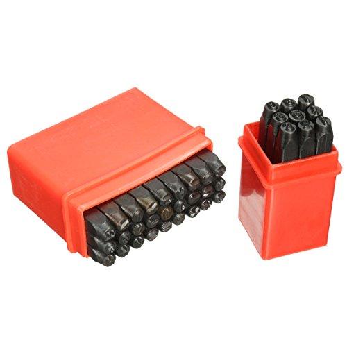 KUNSE 36Pcs 4Mm Briefmarken Alphabet Zahlen Set Punch Stahl Metall Werkzeug Handwerk