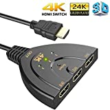 Farraige® 3 Port HDMI 4 K 1.4V Version Switch Splitter with Pigtail Cable for Fire Stick, Xbox One, PS3, 4, TV (Black) - 1 Year Warranty
