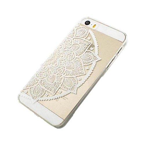 Malloom® Case Cover Per Iphone SE Henna Completa Lotus Mandala Metà Indù Ganesh Per Iphone SE (White) White