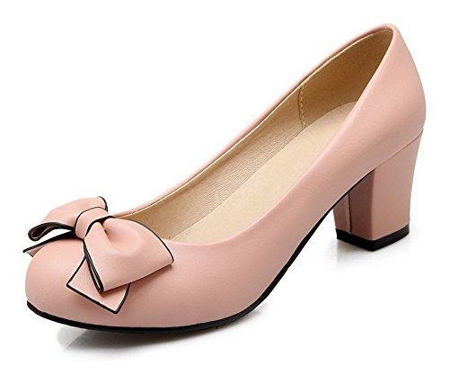 VogueZone009 Damen Pu Leder Rein Ziehen Auf Rund Zehe Mittler Absatz Pumps Schuhe Pink