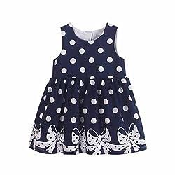 Covermason Toddler Kids Baby Girls Polka Dots Bowknot Print Sleeveless Princess Party Event Tutu Dresses