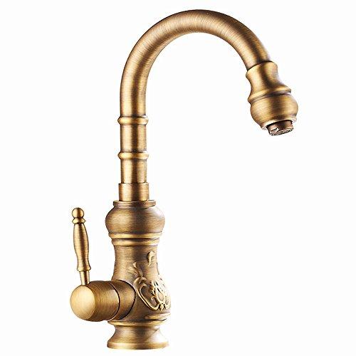 Waschbecken Wasserhahn, Rotierende Küche Bad Wasserhahn, Champagner Kupfer