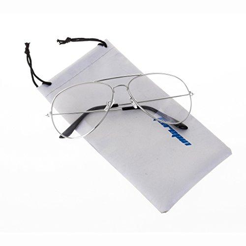 Forepin® Jahrgang Pilotflieger Brille Pilot Metallrahmen Sonnenbrille Klare Linse Gläser