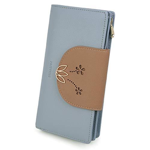 UTO Portafoglio Donna cellulare 10 slot per schede Fiore di loto con scomparti lunga con cerniera in Pelle sintetica Blu
