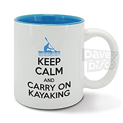 KEEP CALM and carry on KAYAKING, canoeing, kayak, water sport, funny ceramic mug, cup by davesdisco