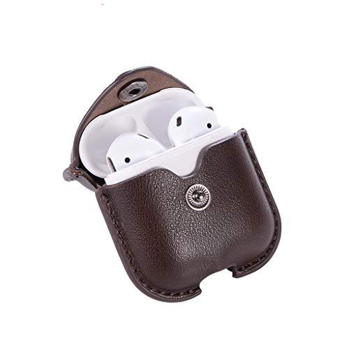 htfrgeds Leder Mini Kopfhörer Tasche mit Schnalle, Headset ohrhörer Schutztasche Macarons Farbe für In Ear Ohrhörer Für Apple AirPod 2/1 (Kaffee) - Ohrhörer Apple Für Farbe