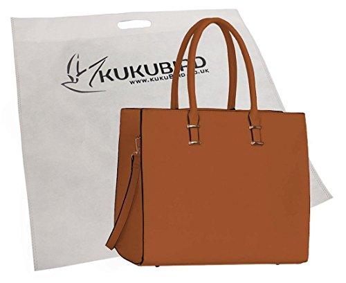 Kukubird 4G En Faux Cuir Womens Fashion Fourre-tout Sac À Poussière BagWith Kukubird Brown