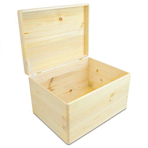 Universal Holzkiste mit Deckel für Aufbewahrung - Kiefer naturbelassen unbehandelt FSC - ca. 40 x 30 x 24 cm - Grinscard