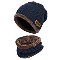 BOSSTER Winter Beanie Hat Scarf Set Fleece Liner Warm Knitted Hat and Circle Scarf for Men and Women Indoors and Outdoor Navy