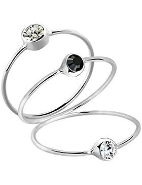 Elli Damen-Stapelring Ring bunt Basic 925 Silber Kristall Brillantschliff grau