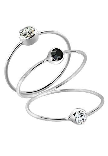Elli Damen Schmuck Ring Solitärringe Stacking Zart Filigran Silber 925 Swarovski® Kristalle Grau Größen 42 44 46 48 50 52 54 56 58 60 62 64