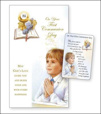 'Boy's First Holy Communion Card & Laminated Prayer