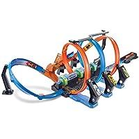 Hot Wheels FTB65 Action Korkenzieher Crash Trackset, Auto Rennbahn mit 3 Loopings und Beschleuniger, Spielzeug ab 5 Jahren