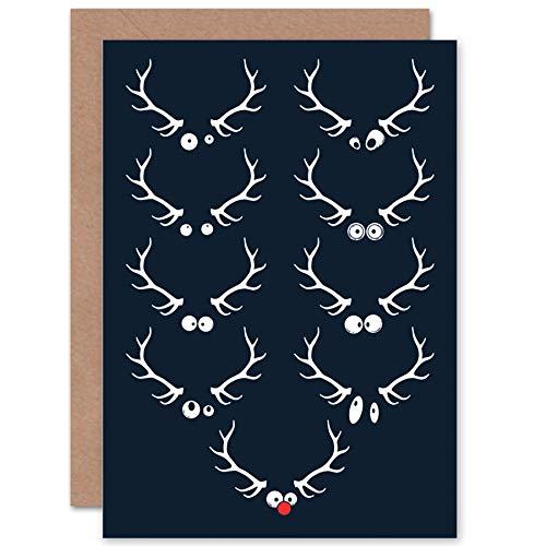 CARD GREETING CHRISTMAS XMAS GOOGLY EYED REINDEER RUDOLPH CP2088